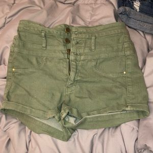 Army green high waisted jean shorts